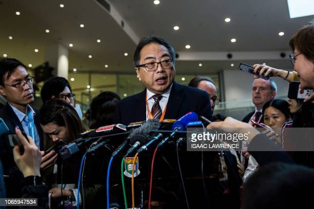 This picture taken on November 27 2018 shows Tsui LapChee of the Academy of Sciences of Hong Kong speaking at a press conference during the Second...