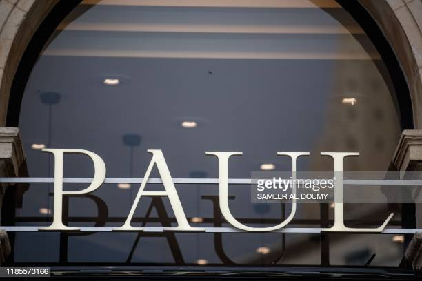 This picture taken on November 29 shows the logo of Paul bakery in the city of Caen northwestern of France
