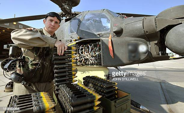 This picture taken on November 3 2012 shows Corporal Graham Carr arming loading point commander of 662 Squadron 3 Reg Army Air Corps loading the...