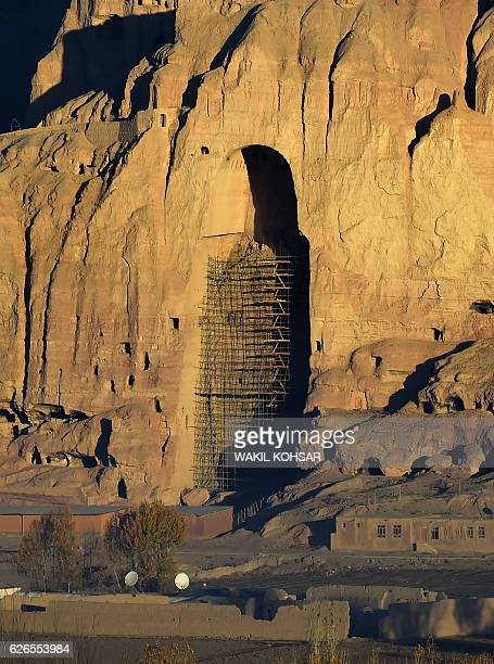 This picture taken on November 6 2016 shows the site of the giant Buddha statues which were destroyed by the Taliban in 2001 in Bamiyan province For...