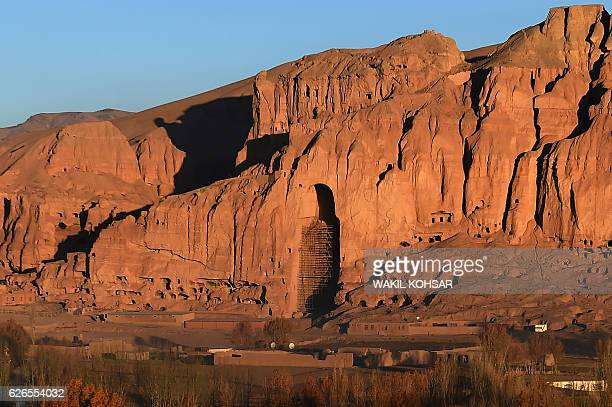 This picture taken on November 6 2016 shows the site of the giant Buddha statues which were destroyed by the Taliban in 2001 is pictured in Bamiyan...