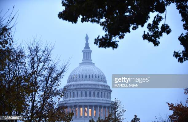 This picture taken on November 6 2018 shows the US Capitol in Washington DC Americans started voting today in critical midterm elections that mark...