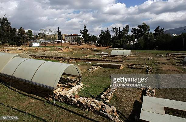 This picture taken on November 7 2009 shows the archeological site of the Lyceum of Aristotle dated to 335 BC in Athens The Lyceum discovered and...