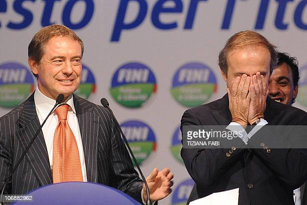 This picture taken on November 7 2010 during the first convention of Italy's parliament speaker Gianfranco Fini new political movement Futuro e...