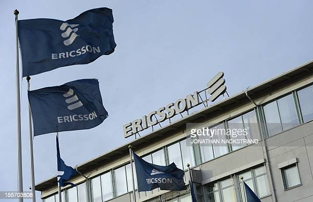 This picture taken on November 7 2012 shows Swedish provider of telecommunications equipment and data communication systems giant Ericsson logo at...