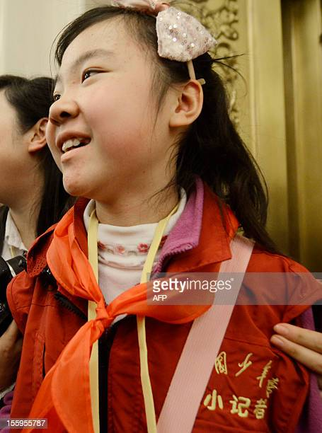This picture taken on November 9,2012 shows a young journalist, Sun Luyuan beijing interviewed at the Great Hall of the People during the 18th...
