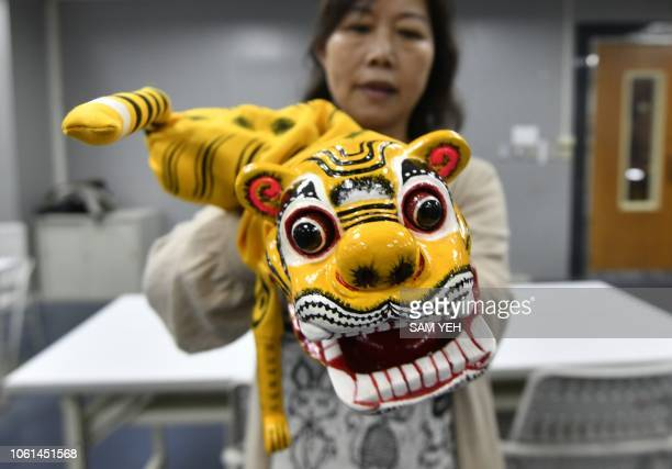 This picture taken on October 13 2018 shows a student of Chen Hsihuang an 87yearold Taiwanese glove puppeteer displaying a craft tiger puppet during...