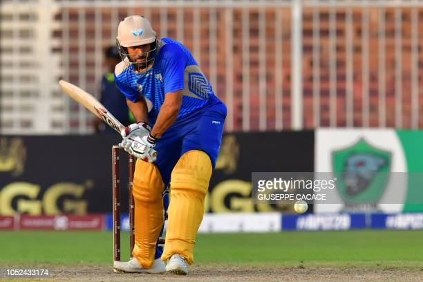 This picture taken on October 13 2018 shows Balkh Legends' Ravinder Singh Bopara playing a shot during the Afghanistan Premier League T20 cricket...