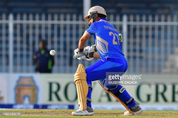 This picture taken on October 13 2018 shows Balkh Legends' Ryan Ten Doeschate playing a shot during the Afghanistan Premier League T20 cricket match...