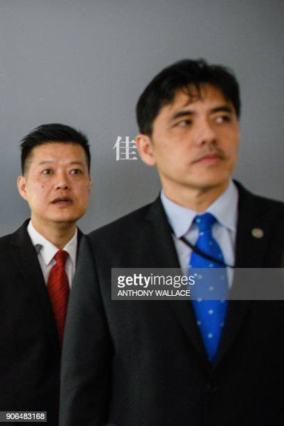 This picture taken on October 13 shows a man identified by local Hong Kong media as former CIA agent Jerry Chun Shing Lee standing in front of a...
