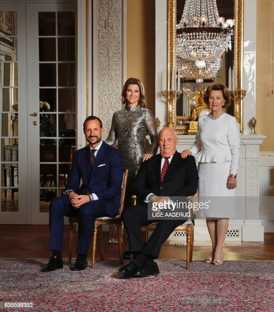 This picture taken on October 17 2016in Oslo and released on February 17 2017 shows King Harald V of Norway and Sonja of Norway and Norway`s Crown...