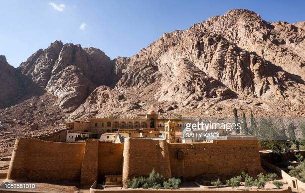 This picture taken on October 19 2018 shows a view of the exterior of the 6thcentury Greek Orthodox Christian monastery of Saint Catherine near the...