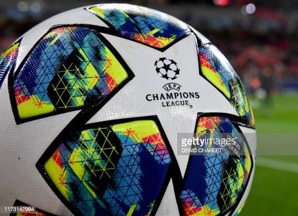 This picture taken on October 2 2019 shows the UEFA Champions League logo on a soccer ball prior the Group H football match between Lille anf Chelsea...