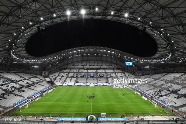 This picture taken on October 20, 2019 shows the Velodrome Stadium prior to the French L1 football match between Olympique de Marseille and Racing...