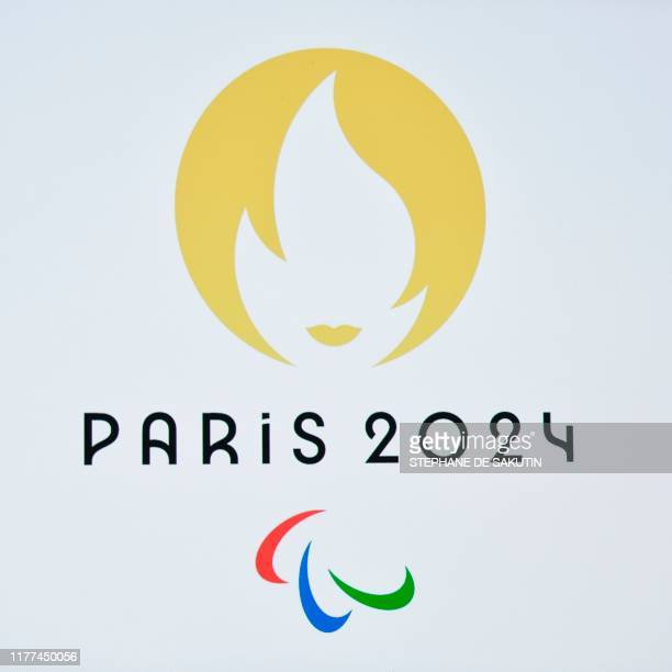 This picture taken on October 21 2019 shows a Paralympic Games logo during a logo presentation ceremony for Paris 2024 Olympic Games at the Grand Rex...