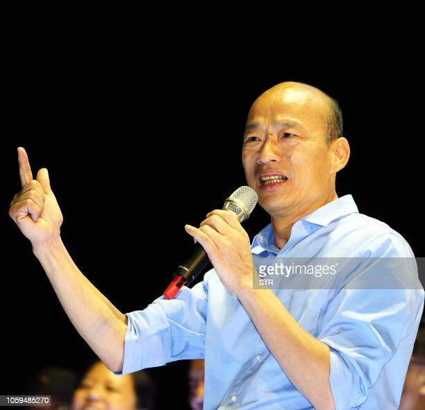 This picture taken on October 27 2018 showing Han Kuoyu Kaohsiung mayor candidate from the main opposition Kuomintang speaking during a rally in...