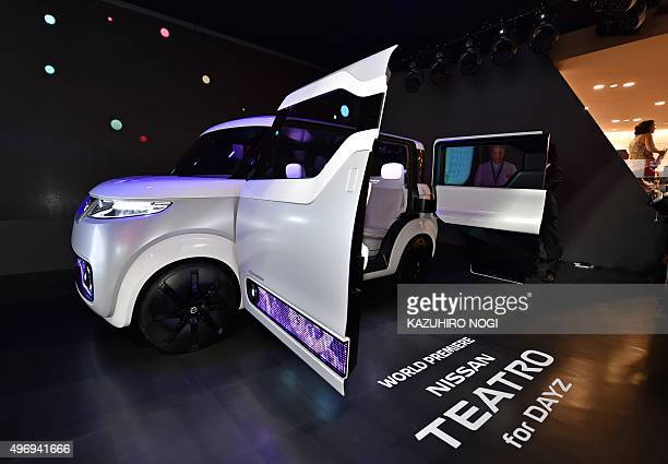 This picture taken on October 28 2015 shows the Nissan Teatro for Dayz a concept car that was presented at the Tokyo Motor Show 2015 AFP PHOTO /...