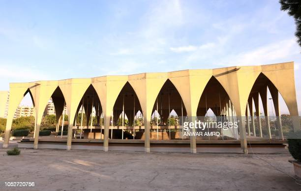 This picture taken on October 3 2018 shows a view of an arched structure in the grounds of the Tripoli International Fair close to the seafront of...