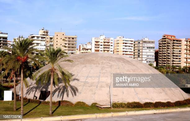 This picture taken on October 3 2018 shows a view of the concrete dome of the experimental theatre at the grounds of the Tripoli International Fair...