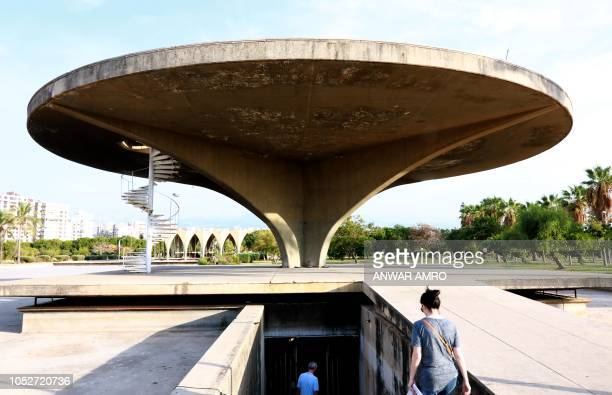 This picture taken on October 3 2018 shows a view of the concrete helicopter platform at the grounds of the Tripoli International Fair close to the...