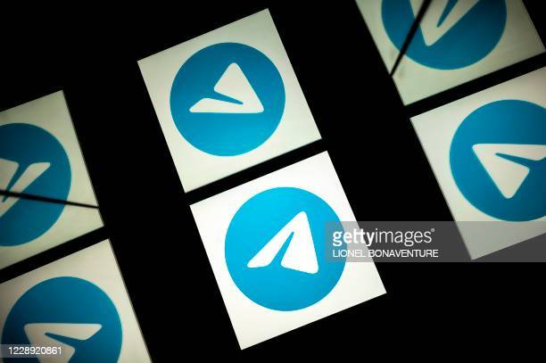 This picture taken on October 5, 2020 shows the logo of mobile messaging and call service telegram on a tablet screen in Toulouse, southwestern...