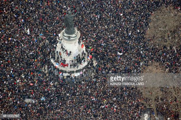 This picture taken on on January 11 2015 shows an aerial view of people attending the Unity rally Marche Republicaine at the Place de la Republique...