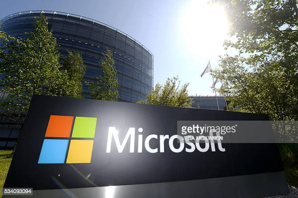 This picture taken on on May 25 2016 shows Microsoft's Finnish headquarters in Espoo Microsoft has announced it is shutting down mobile device...