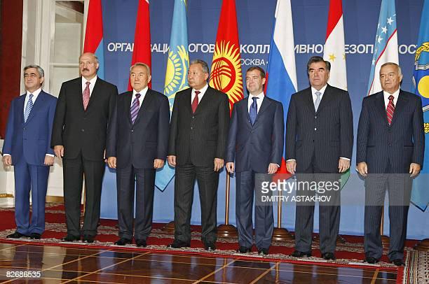 This picture taken on on September 5 2008 shows Presidents Serzh Sarkisian of Armenia Alexander Lukashenko of Belarus Nursultan Nazarbayev of...