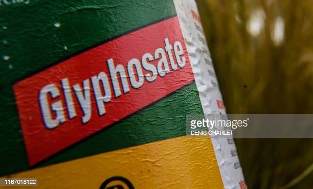 This picture taken on September 09 shows a bottle of weedkilling containing glyphosate in Lille northern France