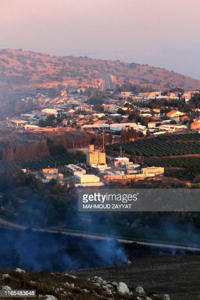 This picture taken on September 1 2019 from a location near the southern Lebanese village of Maroun alRas close to the border with Israel shows smoke...