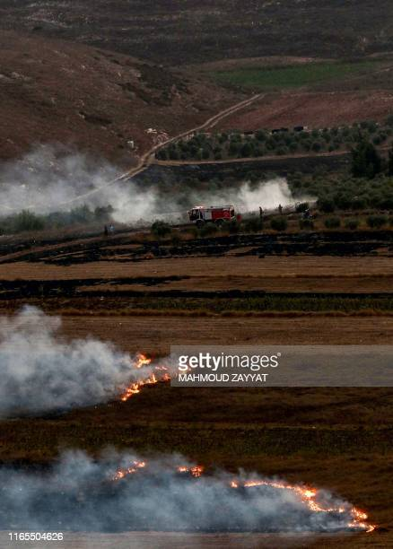 This picture taken on September 1 2019 from a location near the southern Lebanese village of Maroun alRas close to the border with Israel shows a...