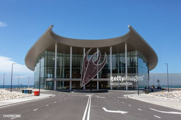 This picture taken on September 10 2018 shows an exterior view of a conference centre for the upcoming AsiaPacific Economic Cooperation summit in...