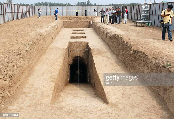 This picture taken on September 11 2013 shows the newly discovered tomb of Shangguan Wan'er a 7thcentury female politician who was one of the most...
