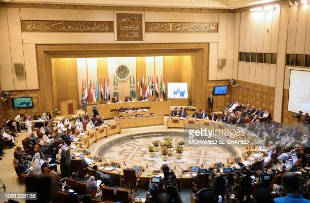 This picture taken on September 11 2018 shows a general view of a meeting of the Arab League Foreign Ministers at its headquarters in the Egyptian...