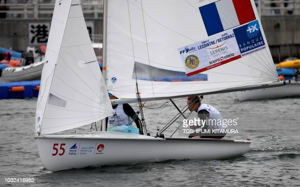 This picture taken on September 12 2018 shows France's pair Camille Lecointre and Aloise Retornaz returning to the harbour after the women's 470...