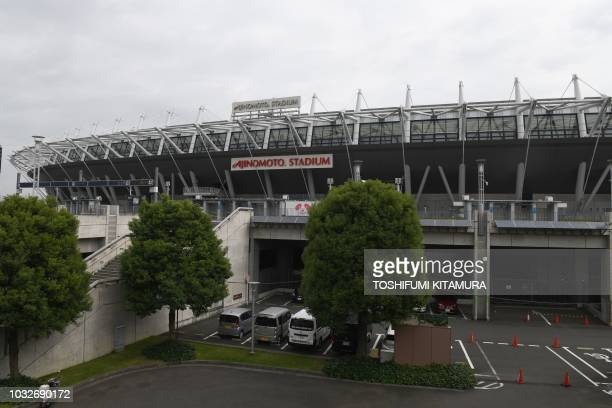 This picture taken on September 13, 2018 shows the Tokyo Ajinomoto Stadium, one of the venues for 2019 Rugby World Cup , in Tokyo.