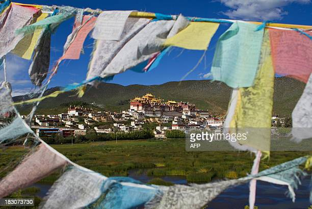 This picture taken on September 14, 2013 shows a general view of the Ganden Sumtsenling Monastery in Shangri-La, Diqing Tibetan Autonomous Prefecture...