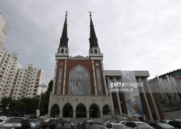 This picture taken on September 14 2018 shows the exterior of Myungsung Church in eastern Seoul One of the world's largest presbyterian churches has...