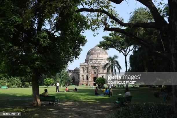 This picture taken on September 15 shows a Mughalera tomb in Lodhi Gardens in New Delhi Smog levels spike during winter in Delhi when air quality...