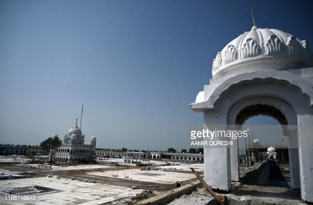 This picture taken on September 16 2019 shows a general view of the construction site at the Sikh religious site Gurdwara Darbar Sahib in the...