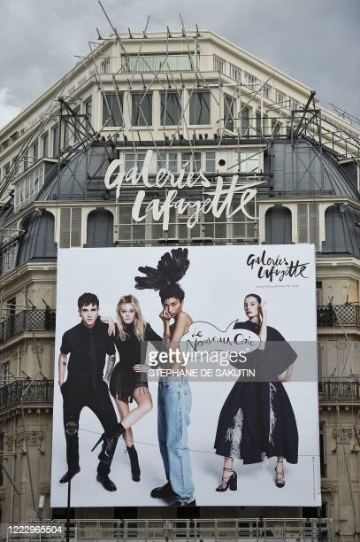 This picture taken on September 17, 2015 shows a general view of the main branch of the Galeries Lafayette store in Paris featuring the stores new...