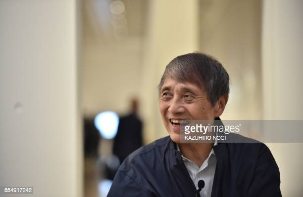 This picture taken on September 20 2017 shows Japanese architect Tadao Ando smiling during an interview at the National Art Center in Tokyo Japanese...