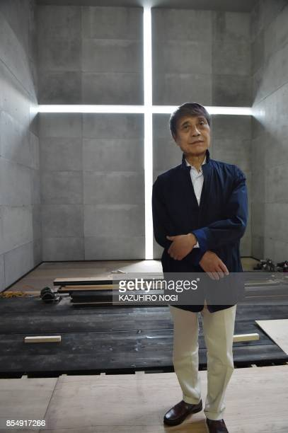 This picture taken on September 20 2017 shows Japanese architect Tadao Ando posing at the National Art Center in Tokyo Japanese master Tadao Ando...