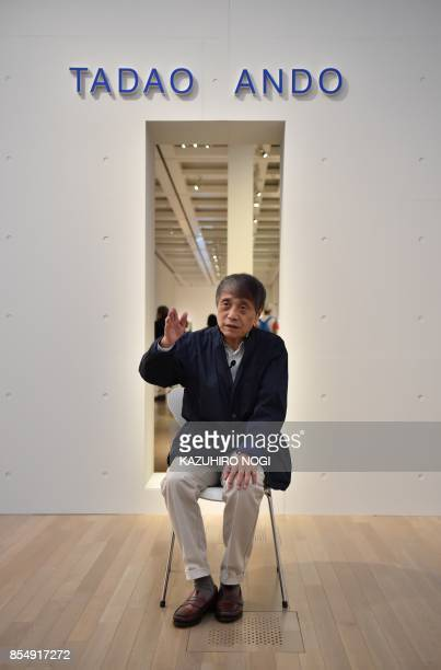 This picture taken on September 20 2017 shows Japanese architect Tadao Ando speaking during an interview at the National Art Center in Tokyo Japanese...