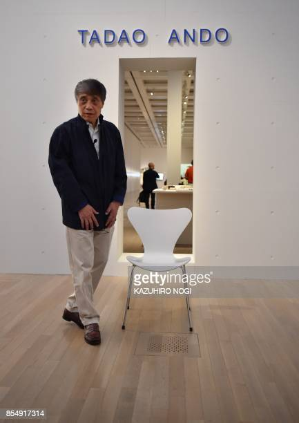 This picture taken on September 20 2017 shows Japanese architect Tadao Ando during an interview at the National Art Center in Tokyo Japanese master...