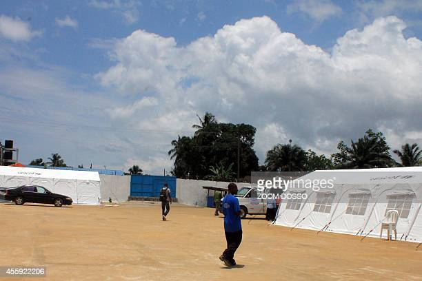 This picture taken on September 21 2014 shows tents with the logo of the United Nations Children's Fund near the 'Island Clinic' a new Ebola...