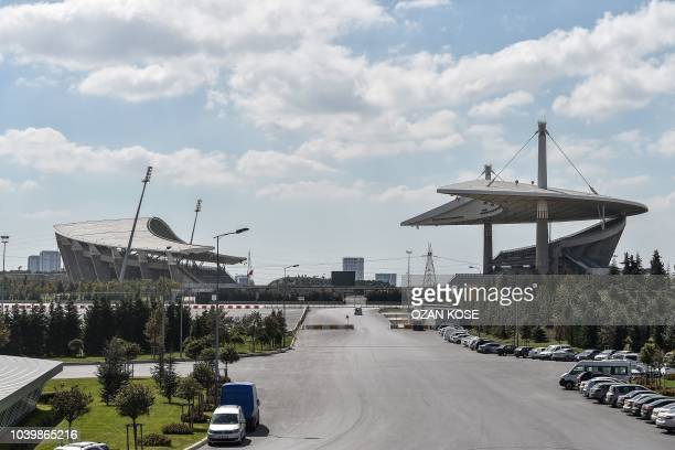 This picture taken on September 21, 2018 shows a general view of Ataturk Olympic Stadium in Istanbul. - On September 27, UEFA will determine if...