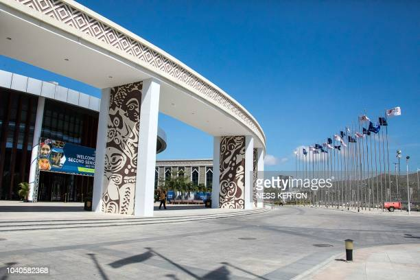 This picture taken on September 22 2018 shows the exterior view of the International Convention Center one of the venues for the upcoming AsiaPacific...