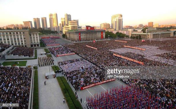 This picture taken on September 23 2017 and released from North Korea's official Korean Central News Agency on September 24 shows an antiUS rally in...