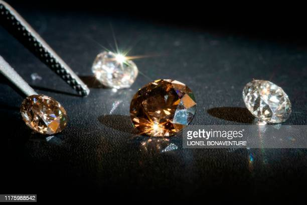 This picture taken on September 23 in Paris, shows lab-grown diamonds in the headquarters of the Diam-Concept company. - Growing diamonds identical...